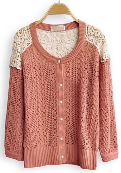 Red Contrast Lace Long Sleeve Hollow Cardigan Sweater