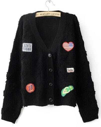Black Long Sleeve Heart Shoes Applique Cardigan Sweater