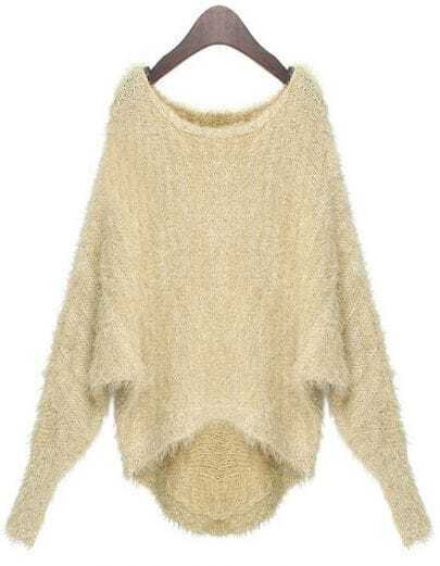 Apricot Long Sleeve Batwing Sequined Pullovers Sweater