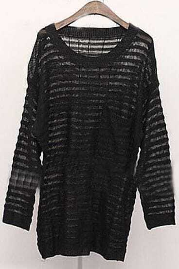 Black Long Sleeve Hollow Pocket Pullovers Sweater