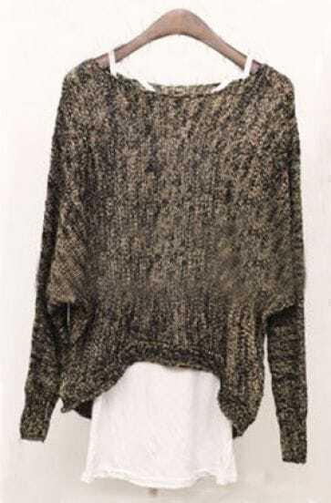 Black Long Sleeve Hollow Batwing Asymmetrical Sweater