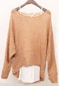 Rose Gold Long Sleeve Hollow Batwing Asymmetrical Sweater