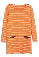Orange White Striped Long Sleeve Pocket Suede Dress