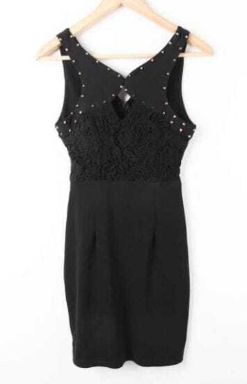 Black Sleeveless Rivet Lace Embroidery Dress