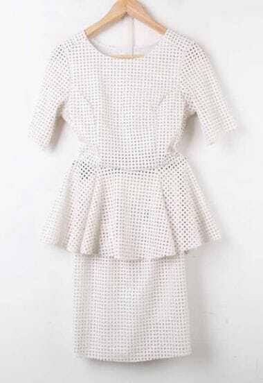 White Short Sleeve Hollow Ruffles Polka Dot Suede Dress