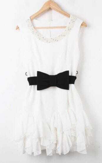 White Sleeveless Pearls Rhinestone Ruffles Chiffon Dress