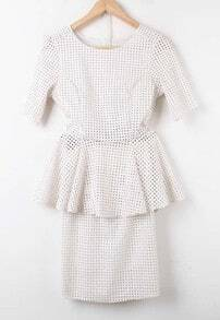 White Short Sleeve Hollow Ruffles Polka Dot Suede Dress