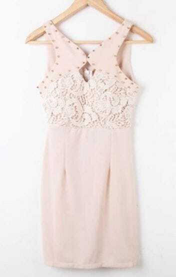 Apricot Sleeveless Rivet Lace Embroidery Dress