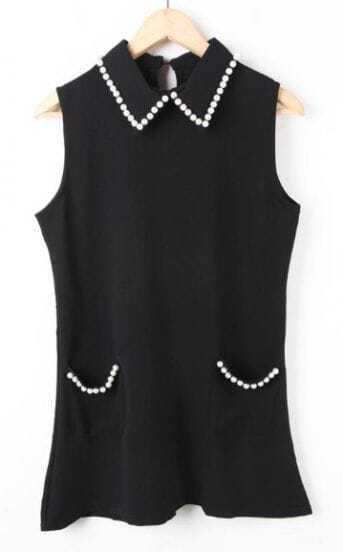 Black Lapel Sleeveless Pearls Pockets Dress