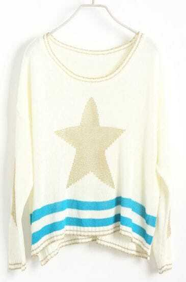 White Long Sleeve Star Embroidery Pullovers Sweater