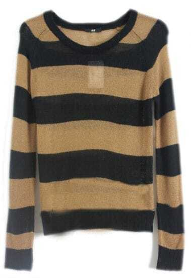 Black Coffee Striped Long Sleeve Pullovers Sweater