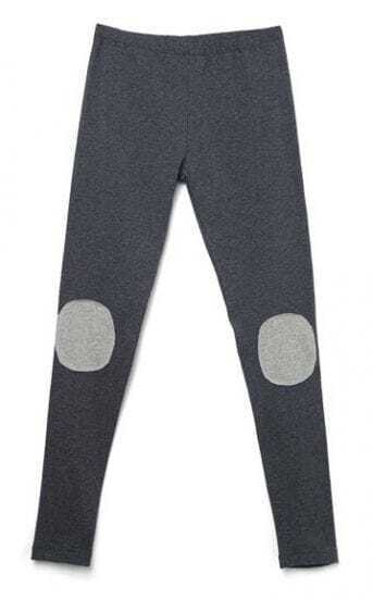 Dark Grey Knee Polka Dot Leggings