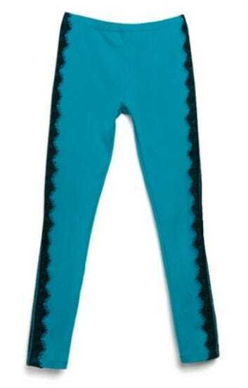 Turquoise Vintage Side Contrast Lace Leggings