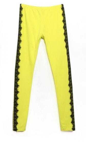 Yellow Vintage Side Contrast Lace Leggings