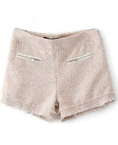 Light Pink Zipper High Waist Fringe Tweed Shorts