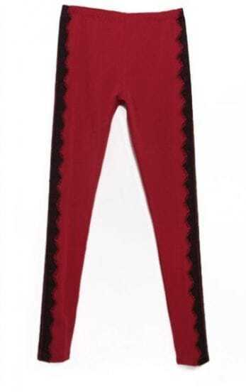 Maroon Vintage Side Contrast Lace Leggings