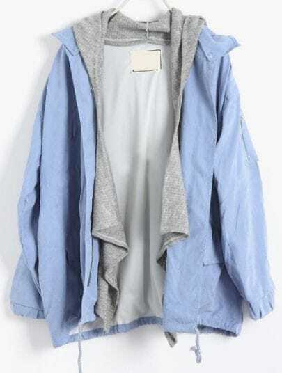 Light Blue Removable Hooded Long Sleeve Trench Coat