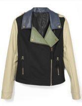 Black Lapel Long Sleeve Contrast Leather Crop Coat
