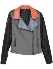 Grey Lapel Long Sleeve Contrast Leather Crop Coat