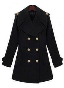 Black Lapel Long Sleeve Double Breasted Tweed Coat