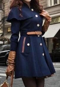 Navy Long Sleeve Drawstring Waist Cape Coat