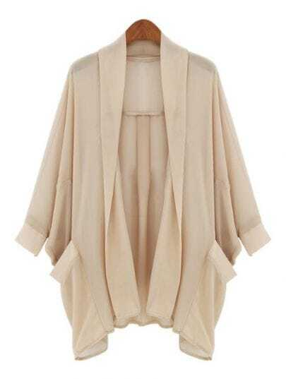 Apricot Batwing Long Sleeve Pockets Chiffon Coat