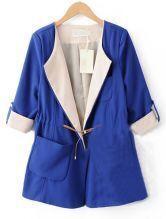 Blue Lapel Drawstring Waist Pockets Trench Coat