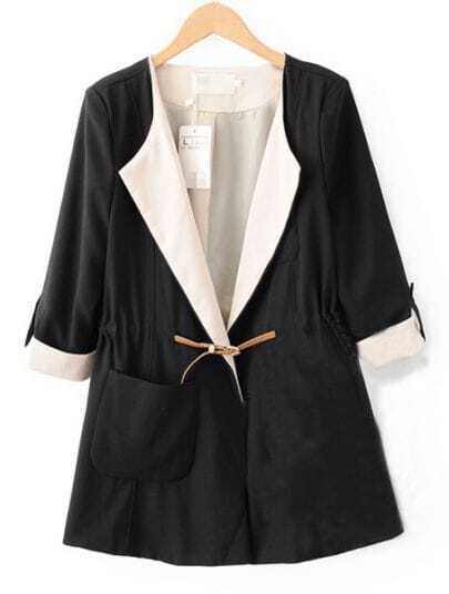 Black Lapel Drawstring Waist Pockets Trench Coat