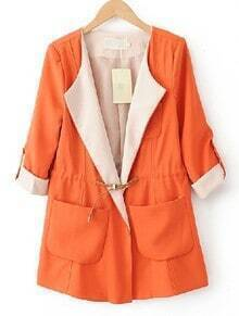 Orange Lapel Drawstring Waist Pockets Trench Coat
