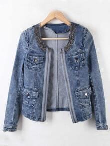 Blue Long Sleeve Zipper Rhinestone Pockets Denim Coat