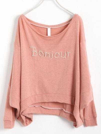 Pink Batwing Long Sleeve Pearls Letters Sweatshirt