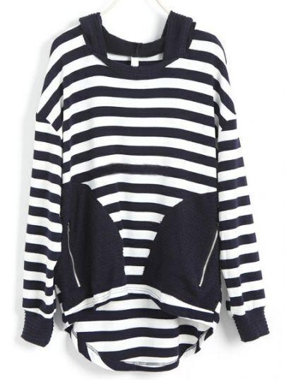 Navy White Striped Zipper Asymmetrical Sweatshirt