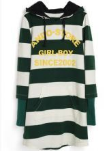Green White Striped Hooded Letters Print Sweatshirt