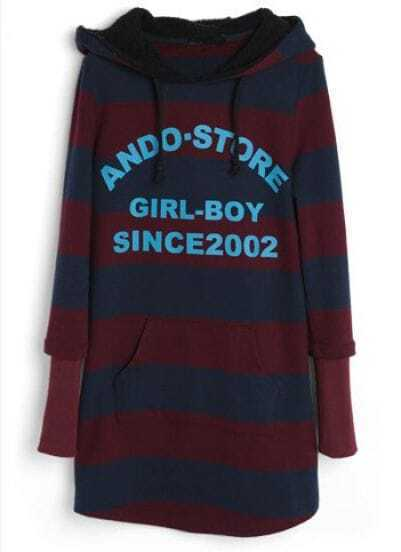 Purple Blue Striped Hooded Letters Print Sweatshirt