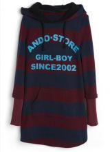 Purple Blue Striped Hooded Letters Print Sweatshirt