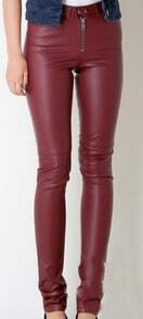 Wine Red Skinny Zipper Button Fly PU Leather Pant