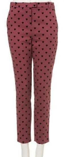 Red Low Waist Heart Print Cotton Blends Pant
