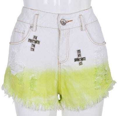 Yellow White High Waist Cross Ripped Fringe Shorts