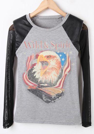 Grey Sheer Mesh Yoke Hawk Print Contrast Leather T-Shirt