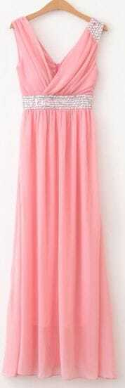 Pink V Neck Sleeveless Full Length Chiffon Dress