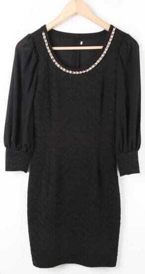 Black Round Neck Zigzag Bodycon Chiffon Dress