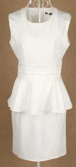 White Sleeveless Elasic Waist Ruffles Dress