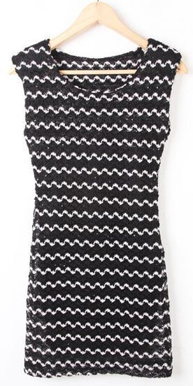 Black White Striped Sleeveless Sequined Bodycon Dress