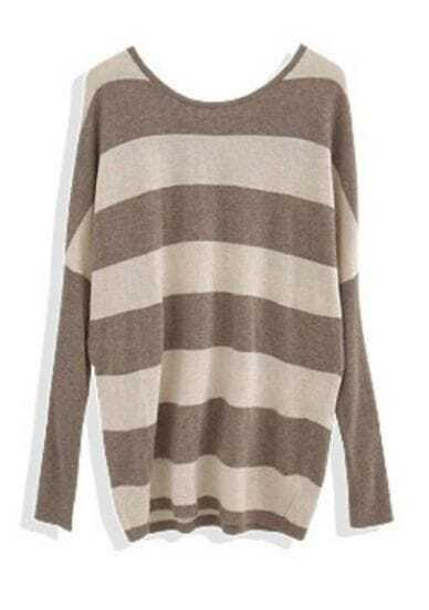Coffee White Striped Hollow Batwing Pullovers Sweater