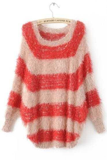 Red White Striped Long Sleeve Pullovers Sweater