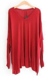 Red Batwing Long Sleeve Loose Pullovers Sweater