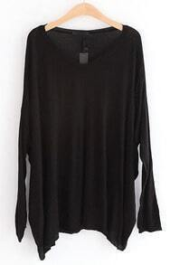 Black Batwing Long Sleeve Loose Pullovers Sweater
