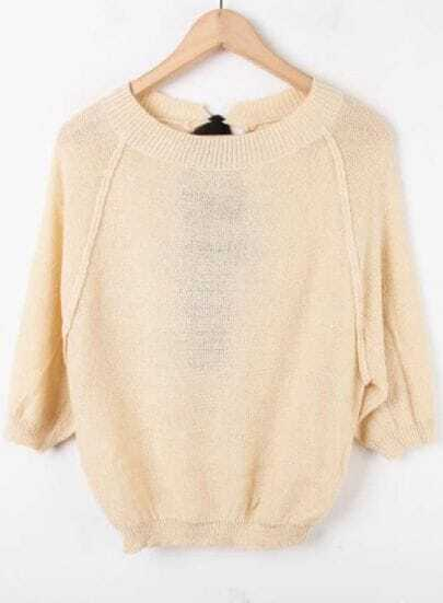 Apricot Half Sleeve Hollow Batwing Pullovers Sweater