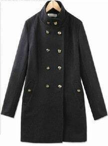 Black High Neck Long Sleeve Buttons Coat