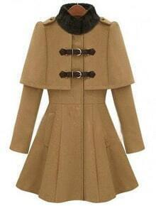 Camel High Neck Long Sleeve Buckle Strap Cloak Coat